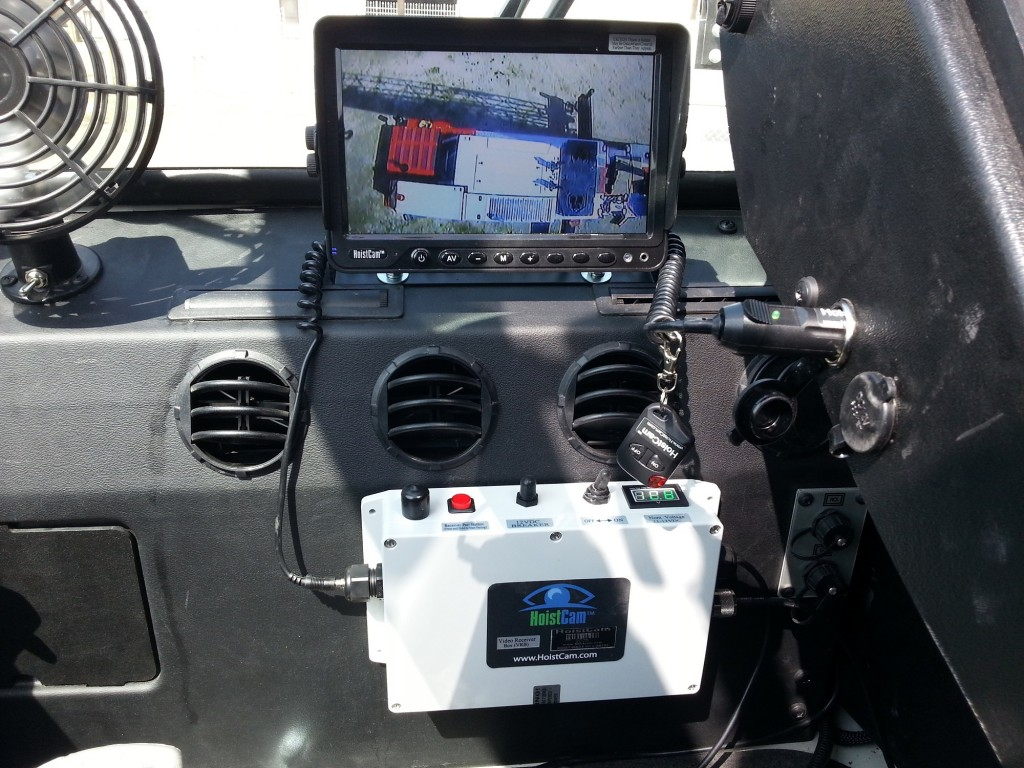 HoistCam Video Receiver Box (VRB) and 9 inch Monitor in Operators Cab