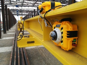 HoistCam HC180 Mounted to Inside of Beam on Overhead Crane