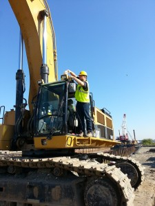 Installing Antenna on Excavator