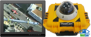 HoistCam HC180 armored dome with view from hook block on 9in monitor